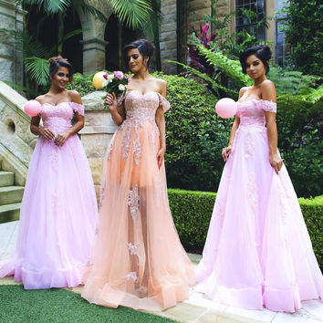 New Arrival 2016 Off the Shoulder Applique Tulle Pink Bridesmaid Dresses Long Plus Size Maid of Honor Dresses for Weddings