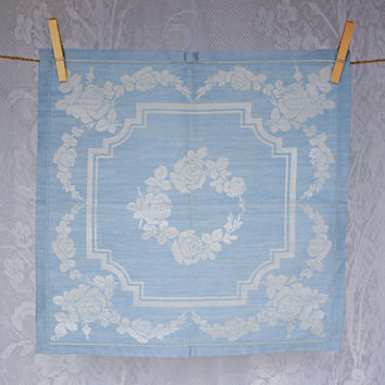 6 Vintage Irish Damask Napkins Blue Fine Linen 'Silvertone', Fine Table Linen for your Vintage Lady
