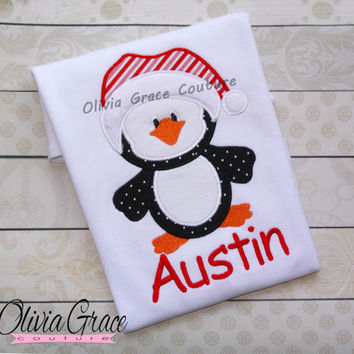 Christmas Shirt, Santa Penguin Shirt, Winter Outfit, Girls Christmas Shirt, Embroidered Applique Shirt or Bodysuit