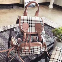 Burberry Fashion New Shopping Canvas Plaid Backpack Tote Satchel Shoulder Bag Pink