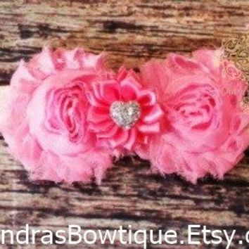 Light Pink Shabby and Satin Flower with Silver Heart Headband / Baby Headband / Baby Girl Headband / Baby Bows/ Girls Hair Bows / Toddler