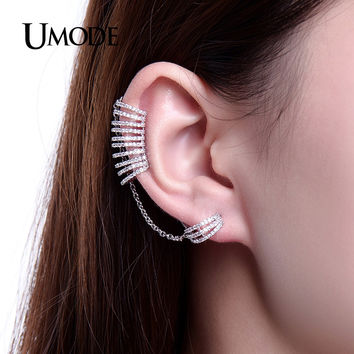 UMODE Unique Mismatch Earrings Ear Cuff Chain Stud Earrings For Women CZ White Gold Color Christmas Gifts Jewelry Brinco UE0243