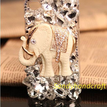bling samsung galaxy s4 case elephant iPhone 4/4s case cover swarovski diamond iPhone 5 case ivory iPhone case HTC one x case glitter
