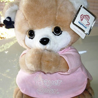 Vintage Applause Prayer Bear, plush teddy bear, collectible toy 1984 with original tags, excellent condition
