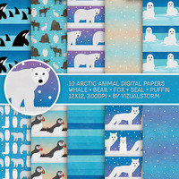 Arctic Digital Paper, Arctic Scrapbook, Arctic Animals, Antarctica, Bear, Puffin, Fox, Seal, Whale, Winter Holiday Snow Ocean Backgrounds