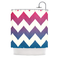 "Catherine McDonald ""Fade to Blue"" Chevron Shower Curtain"