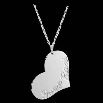 Personalized Heart Necklace - Heart Name Necklace - Heart Engraved Necklace - Custom Heart Necklace - Personalized Name Necklace - Bff Gift