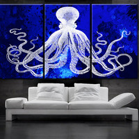"LARGE 30""x 60"" 3 Panels Art Canvas Print Octopus watercolor blue background Wall home Office decor interior (Included framed 1.5"" depth)"