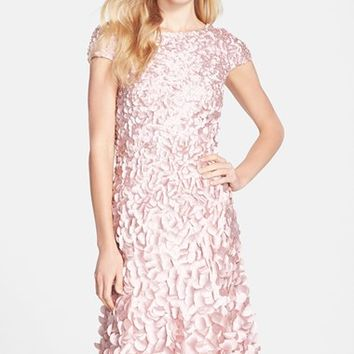 Women's Theia Petal Applique Cap Sleeve Dress,