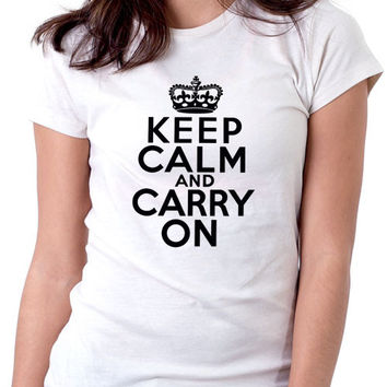 Keep Calm Carry On Ladies White T-Shirt