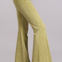Chatoyant Mineral Wash Flare Pants in Pear