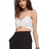 Show Stopper Grid Print Crop Top