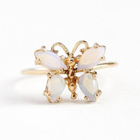 Butterfly Opal Ring - Retro 14k Yellow Gold Figural Insect Gemstone - Size 5 1/2 Stick Pin Conversion Mid Century 1960s Fine Jewelry