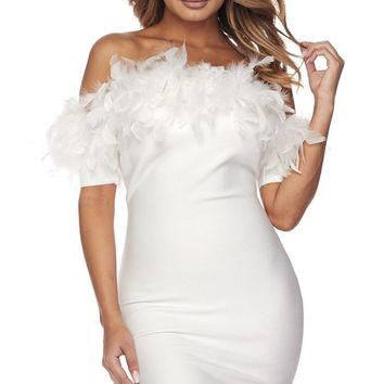 Object Of Attention Feather Short Sleeve Off The Shoulder Bodycon Mini Dress - 2 Colors Available
