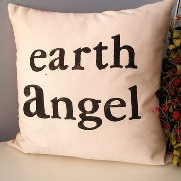 Earth Angel Hand Stamped Pillow Cover by JoshuaByOak on Etsy