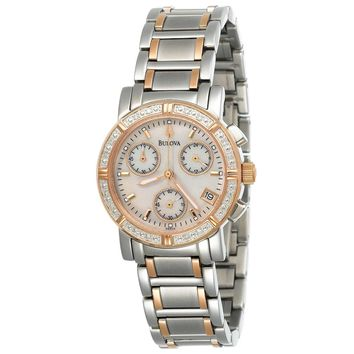 Bulova 98W04 Women's Marine Star White MOP Dial Two Tone Steel Chronograph Diamond Watch