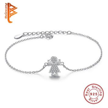 Authentic 100% 925 Sterling Silver Link Chain Bracelet Cute Girls Charm Cubic Zirconia Micro Pave CZ Crystal  Bracelet Jewelry