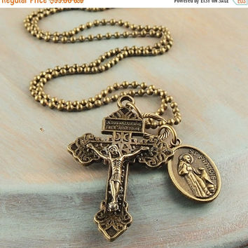 On Sale Bronze Cross Necklace Pardon Crucifix St.Francis Medal Necklace Antique Vintage Cross & Medal Necklace Charm Necklace 28 Inch Ball C