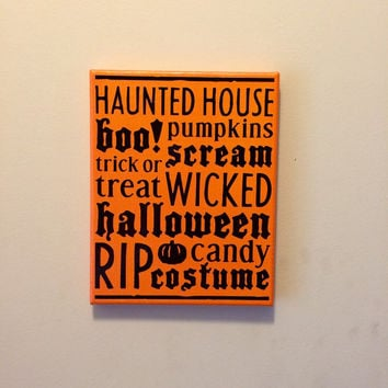 Halloween Streched Canvas Decor: 8x10 Home Decor, You Choose Colors