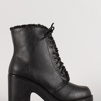 Shearling Trim Lace Up Chunky Heel Bootie
