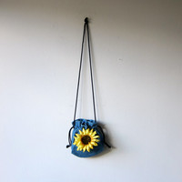 90s Grunge Sunflower Denim Drawstring Purse / Mini Bucket Bag