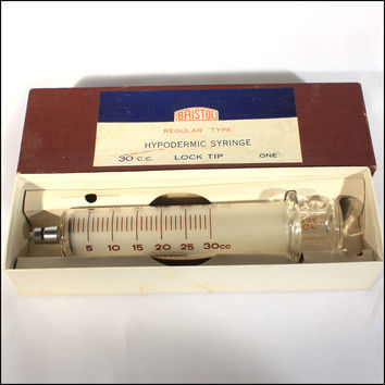 Bristol Veterinary Medical Vintage Glass Syringe
