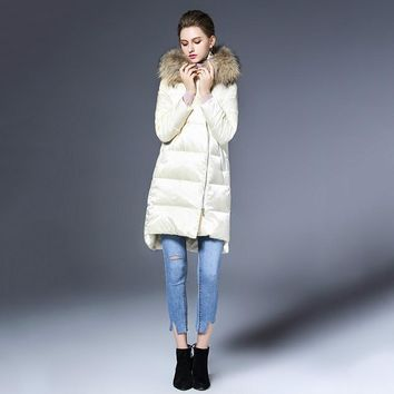 Women Down Coat Winter 2017 Outerwear Real Fur Collar Overcoat Female Down Jacket Luxury Long Coat Thicken High Quality Warm New
