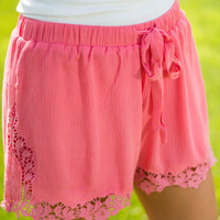 My Happy Lace Shorts, Coral