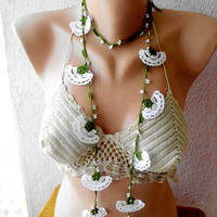 crochet necklace, white lariat scarf, bridal accessories, crochet lace jewellery,  crochet scarf, , crochet white scarf, scarves for her