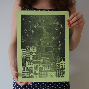handmade linocut print, green wall art, city illustration, city at night, architecture art, linoleum wall print, diamonds, stars art, green
