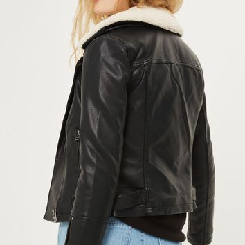 Cream Collar Pu Biker Jacket | Topshop