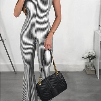 Black-White Striped Cross Back Backless Bell Bottom Elegant Flare Long Jumpsuit