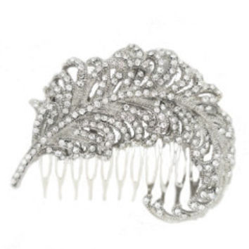 Wedding Hair Accessories, Peacock Bridal Hair Comb, Rhinestone Head Piece