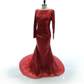 RED Mermaid Long Prom Dresses Long Sleeves backless Formal Party Evening Dresses