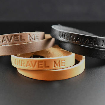 Leather Double Wrap Bracelet - THIN - 3 Colors Available - UNRAVEL ME
