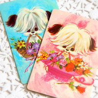 Vintage Playing Cards. ATC. Deck Of Cards. Ephemera Pack. Art Journal Kit. Embellishment. Scrapbooking. Puppy Dog. Flower Card. Mixed Media.