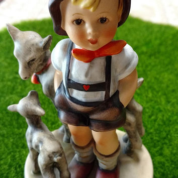 Vintage Hummel figurine - Blue Bee mark 1964-72   Young boy with lambs