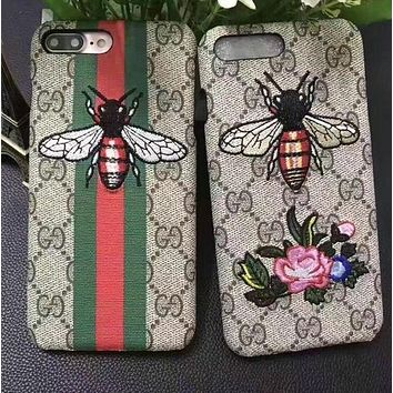 GUCCI Embroidery iPhone Phone Cover Case For iphone 6 6s 6plus 6s-plus 7 7plus Protective Case