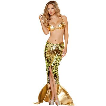 S-XL Deluxe Sexy Gold Sequin Mermaid Costume Adult Women Halloween Party Cosplay Ariel Mermaid Costume Bra with Skirt