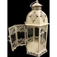 New 28cm Shabby Chic Cream Metal Candle Lantern: Amazon.co.uk: Kitchen & Home