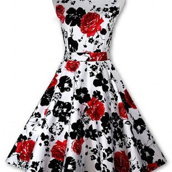 Floral Printed Retro Sleeveless Mini Dress