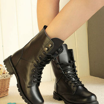 Hot Sales Women Lady Vintage Black Boots Combat Army Punk Goth Ankle Biker Shoes Ex51 Free Shipping