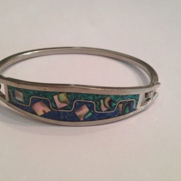 Vintage Taxco Lapis Malachite Inlay Silver Mexico Bracelet Mexican Jewelry 14 Gr