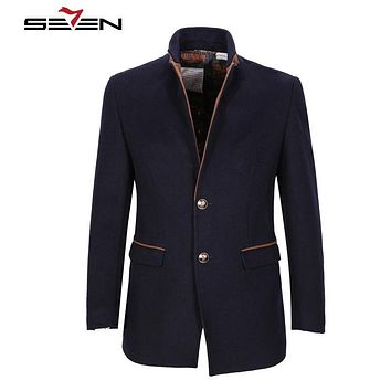 Seven7 Wool Coat Men Classic Winter Peacoat Long Male Coats Jackets Fashion Slim Fit Warm Overcoat Outerwear Plus Size 109K20380