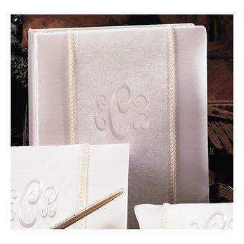 Ivory Brocade Monogram(240 Signatures, 3 Ring Binder) Memory Book