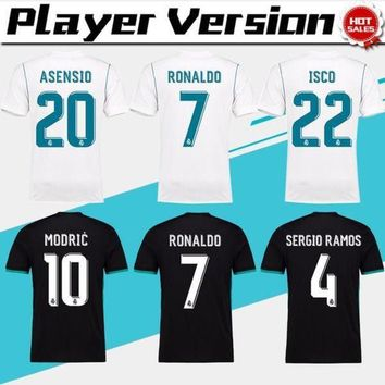 VLXZRBC 2018 player version Away black Real Madrid Soccer Jersey 17/18 CR7 soccer shirt Ronald