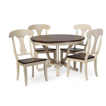 Baxton Studio Napoleon Chic Country Cottage Antique Oak Wood and Distressed White 5-Piece Dining Set with 48-Inch Round Pedestal Base Fixed Top Dining Table Set of 1