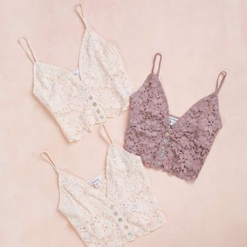 Celia Button Detail Lace Bralette