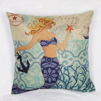 Funny Mermaid Pattern Linen Decorative Pillowcase (Without Pillow Inner)