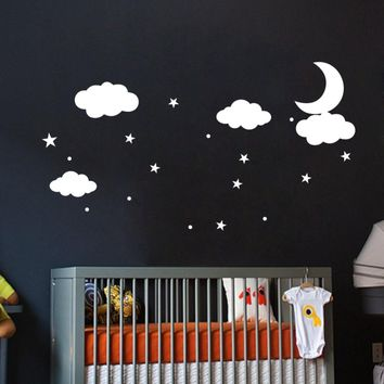 DIY Clouds Stars Dot Moon Wall Stickers Children Nursery Kids Room Art Decals Background Wall Decoration